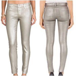 J Brand Metallic Silver Mid Rise Skinny Jean SZ 28